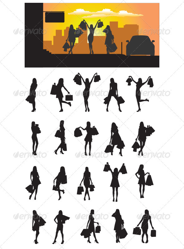 Shopping Girl Silhouette - People Characters