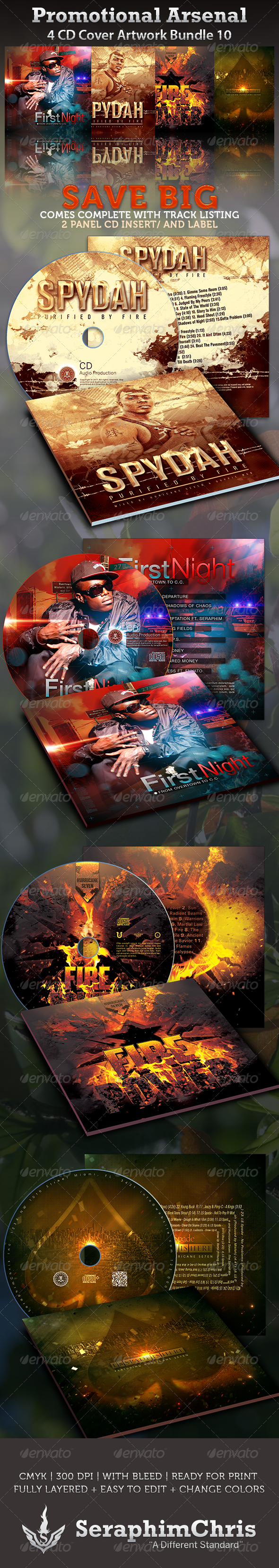 Promotional Arsenal CD Cover Artwork Bundle Vol.10 - CD & DVD Artwork Print Templates