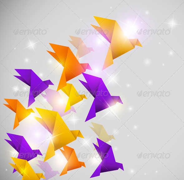 Abstract Background with Origami Birds - Backgrounds Decorative