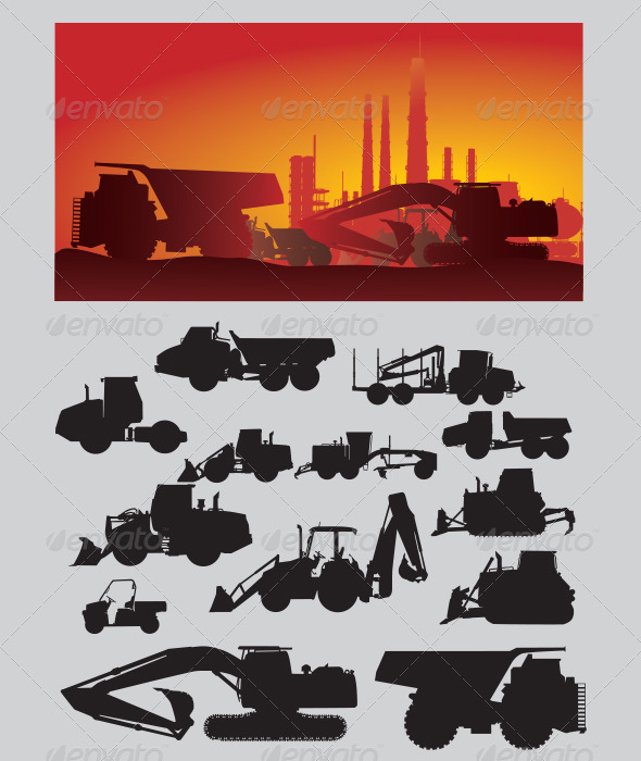 Construction Vehicles Silhouette - Industries Business