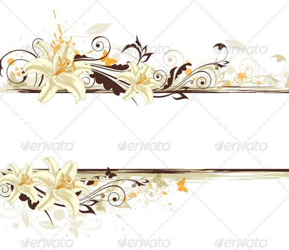 Floral Background with Lily - Backgrounds Decorative
