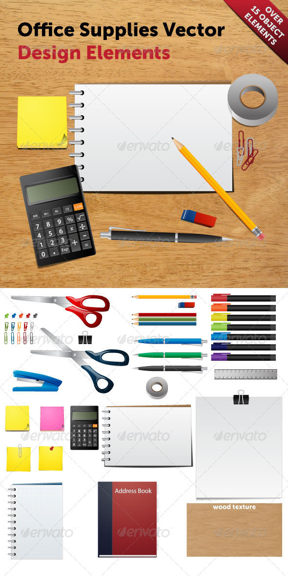 Office Supplies Vector - Man-made Objects Objects