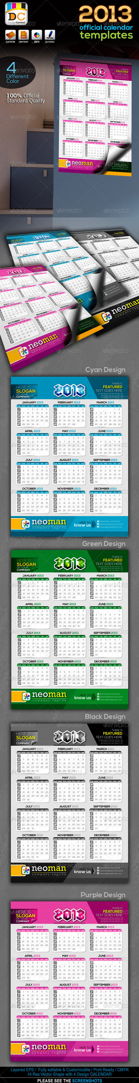 NeoMan_2013 Official Calendar Templates - Calendars Stationery