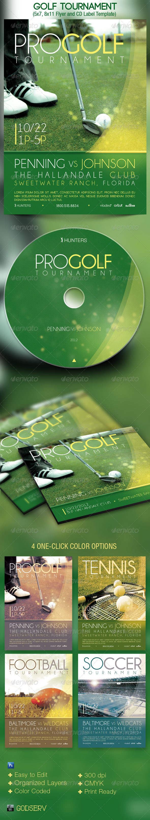 Golf Tournament Event Flyer CD Template - Sports Events