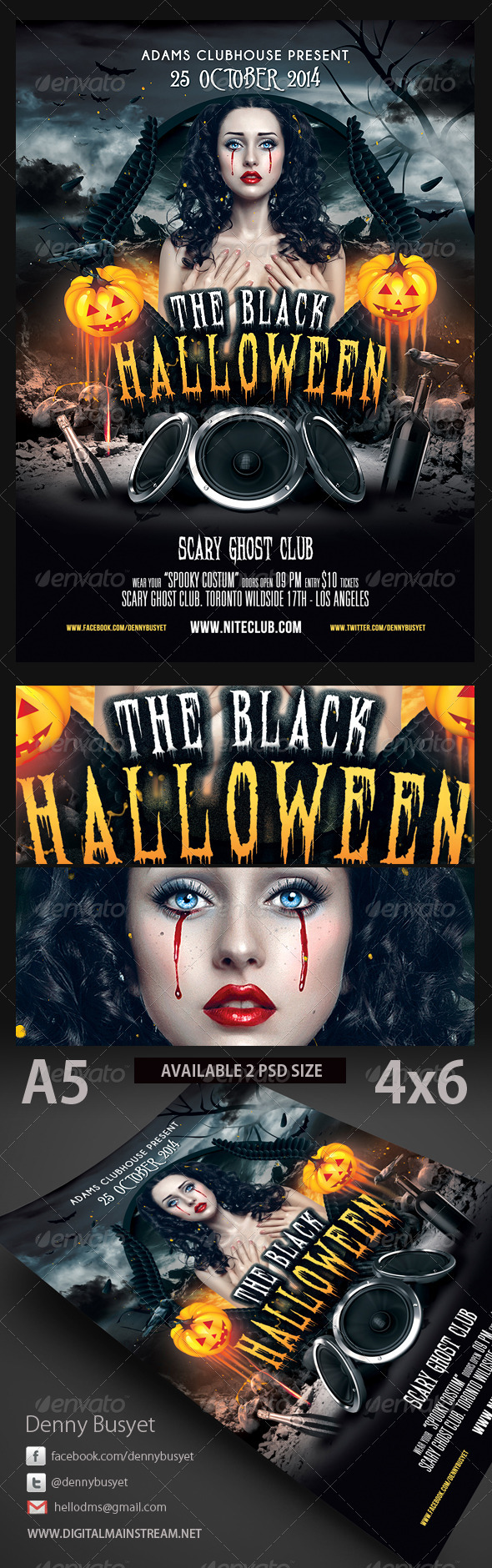The Black Halloween Psd Flyer Template - Holidays Events