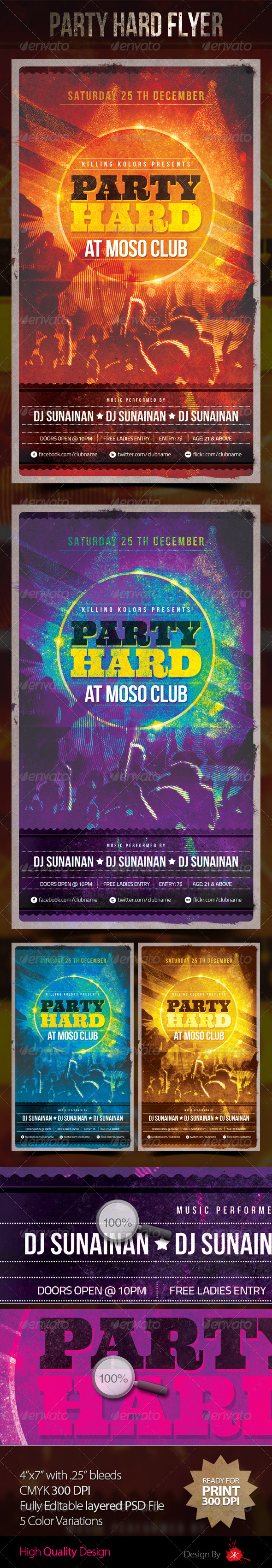 Party Hard Flyer - Clubs & Parties Events