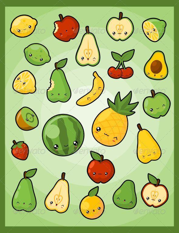 Kawaii Pack 5: Fruits - Food Objects