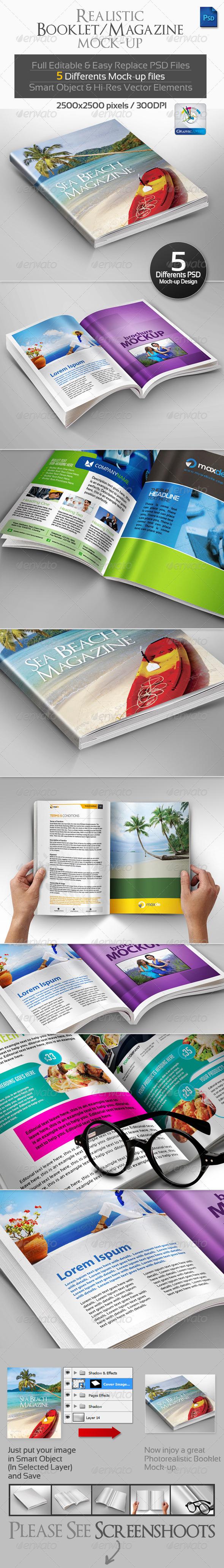 Realistic Booklet/Magazine Mock-ups - Magazines Print