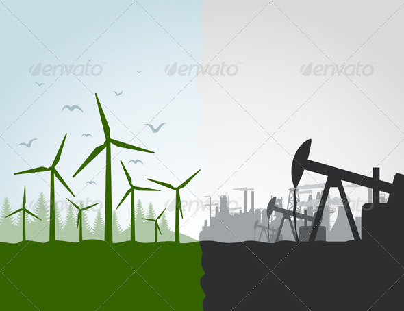 Nature against the industry - Miscellaneous Vectors