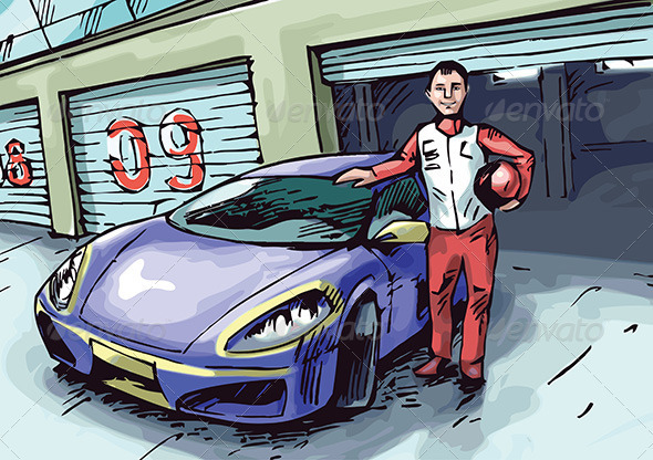 Racer and His Sport Car - People Characters