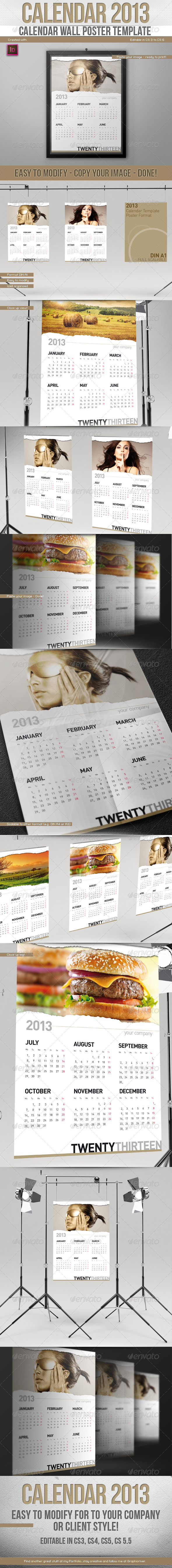 2013 Calendar // Wall Poster Template // Paper Rip - Calendars Stationery
