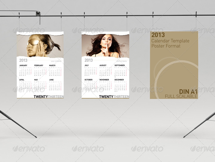 2013 Calendar Wall Poster Template Paper Rip By Egotype