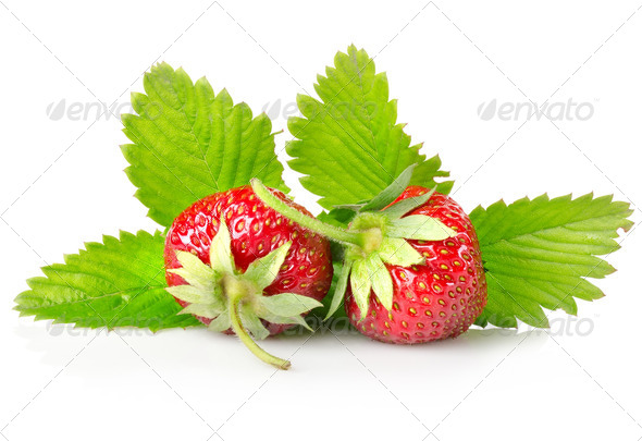 Ripe strawberries with leaves - Stock Photo - Images