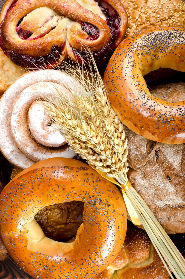 Assortment of bakery fresh breads - Stock Photo - Images