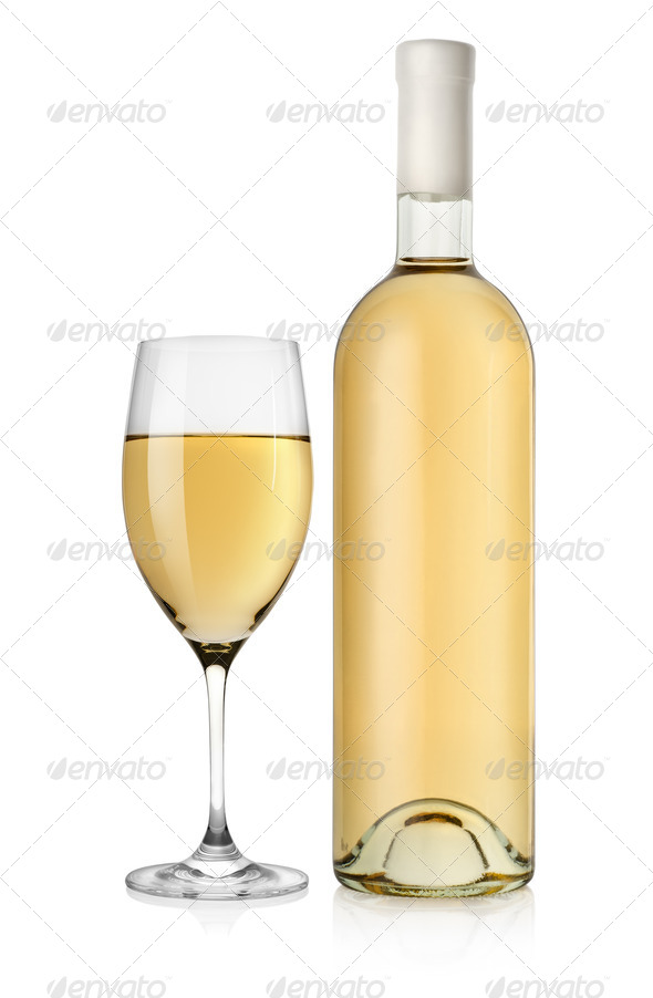 Bottle of white wine and wine glass - Stock Photo - Images