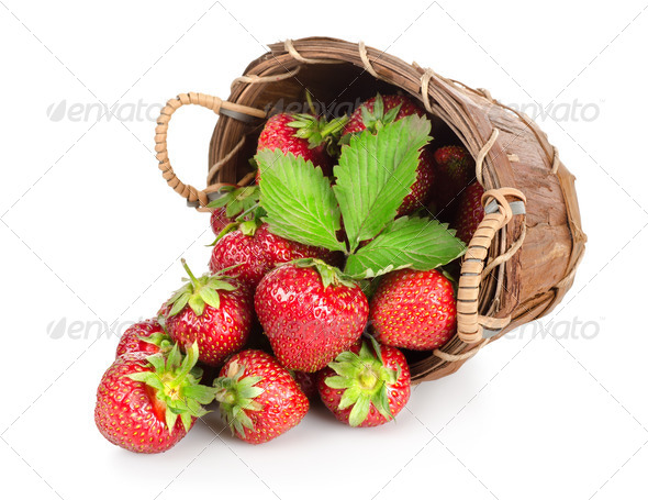 Strawberries in a wooden basket - Stock Photo - Images