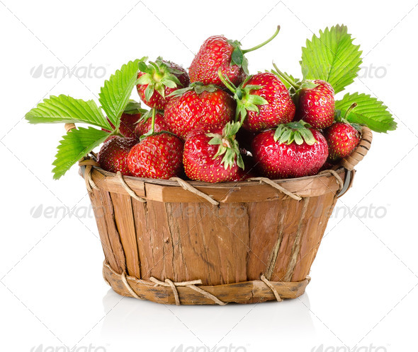 Strawberries in a basket - Stock Photo - Images