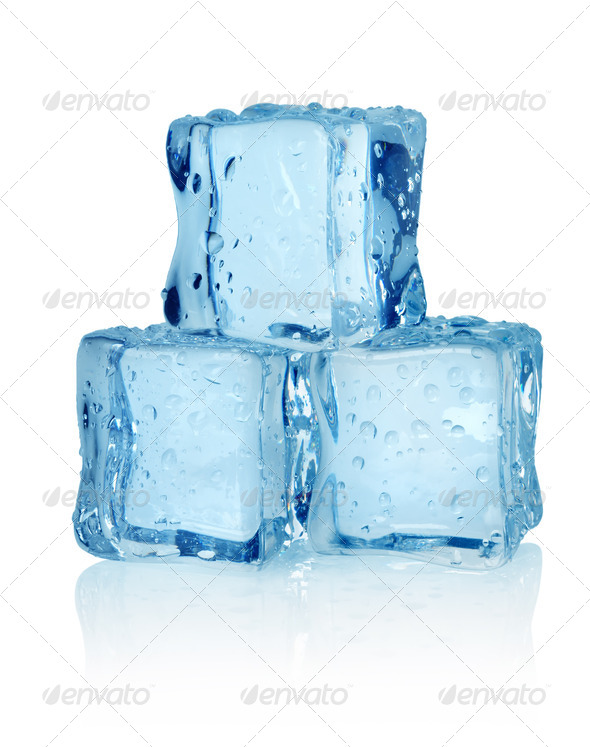Three ice cubes isolated - Stock Photo - Images