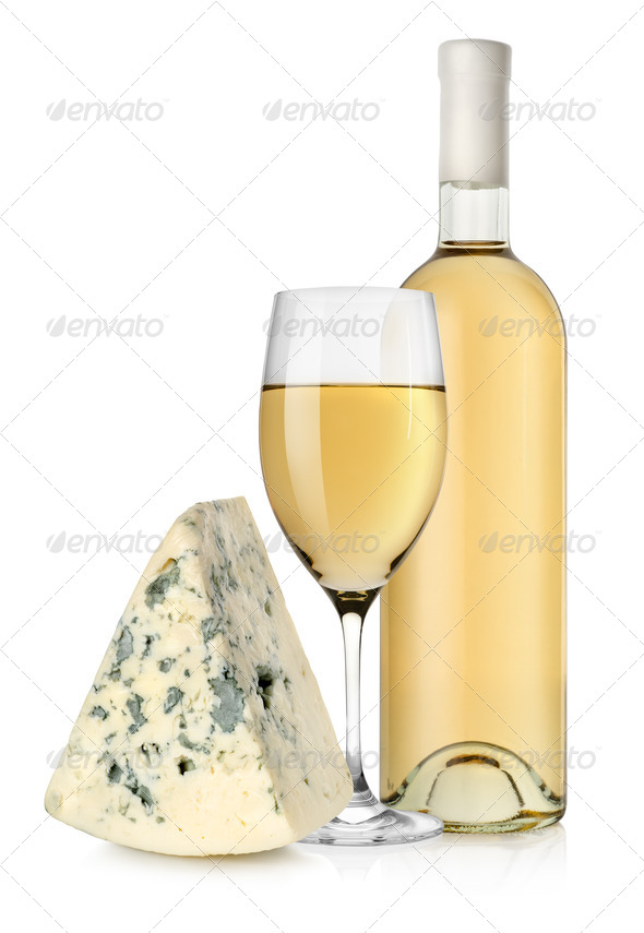 Wine bottle and blue cheese - Stock Photo - Images