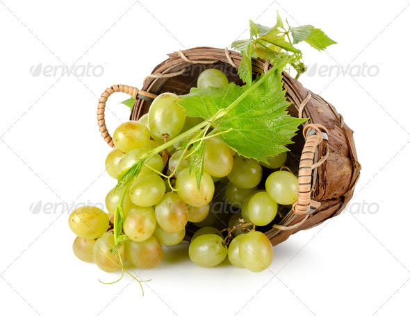 Grapes in a wooden basket - Stock Photo - Images