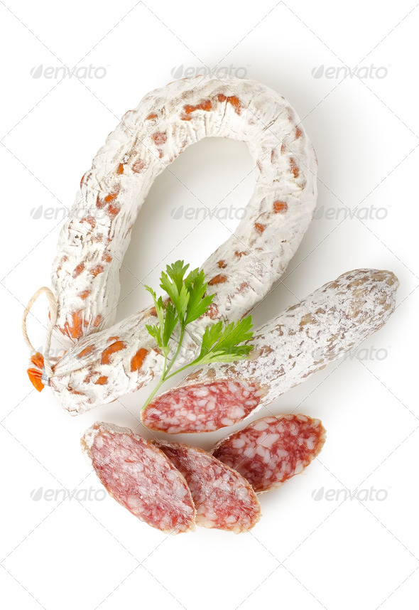 Salami sausage and parsley - Stock Photo - Images