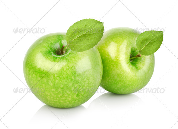 Two green apples with leaves - Stock Photo - Images