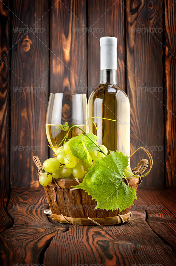 White wine with grapes - Stock Photo - Images