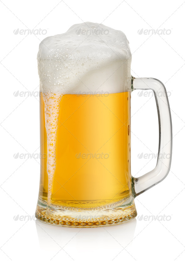 Mug with beer isolated - Stock Photo - Images