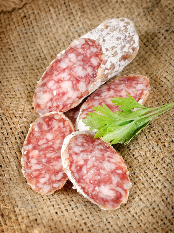 Sausage and parsley - Stock Photo - Images