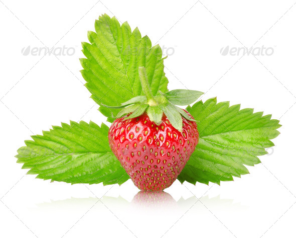 Ripe strawberries with leaves isolated - Stock Photo - Images