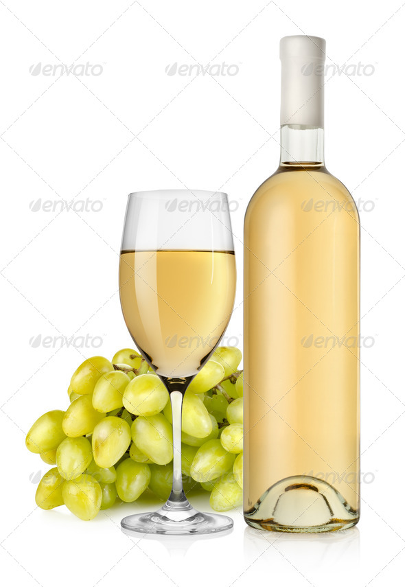 White wine and grapes - Stock Photo - Images
