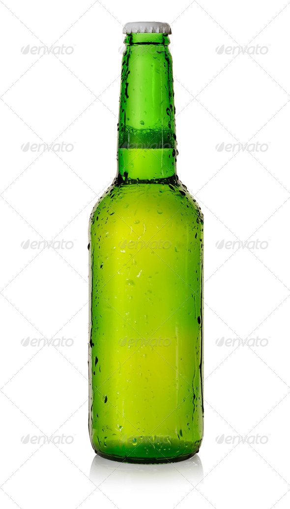 Beer in a green bottle - Stock Photo - Images