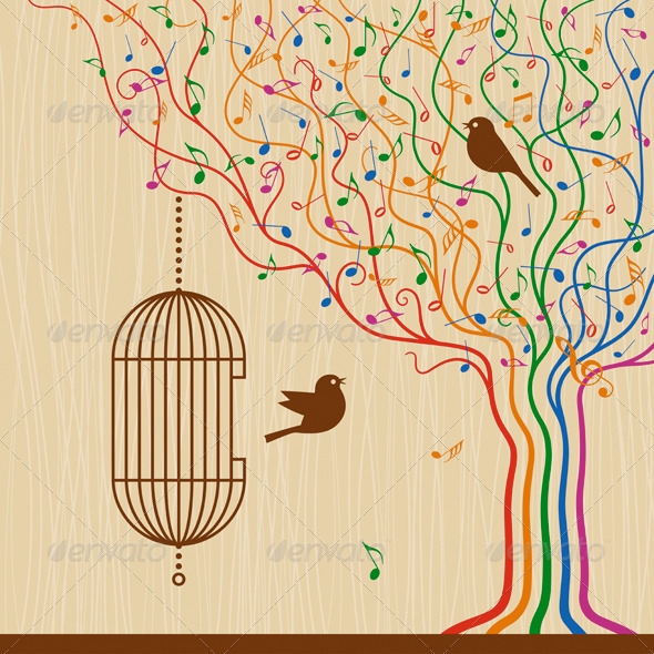 Birdcage On The Musical Tree - Decorative Symbols Decorative