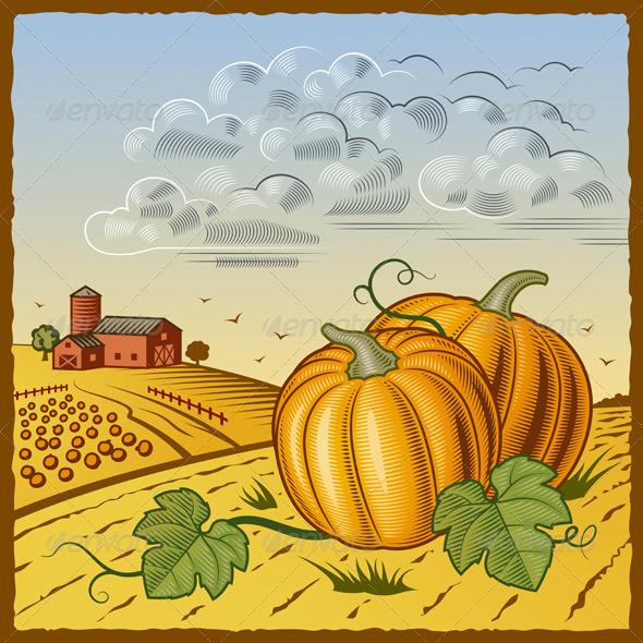 Landscape With Pumpkins - Landscapes Nature