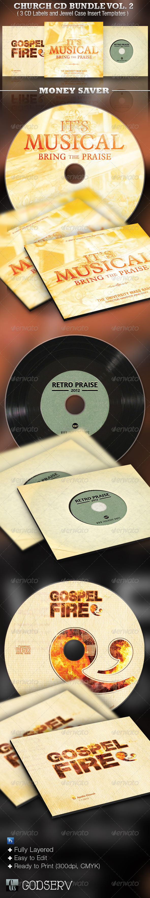 Church CD Template Bundle Vol 2 - CD & DVD Artwork Print Templates