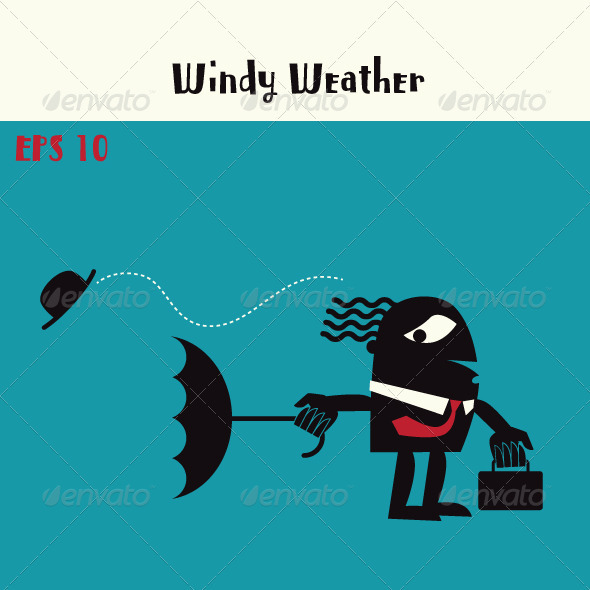 Man with Umbrella in Windy Weather - Characters Vectors