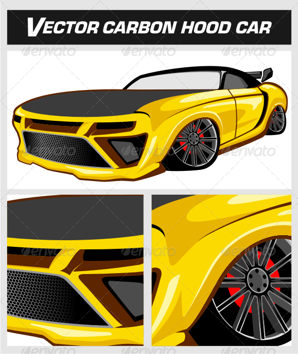 Vector Carbon Hood Car - Man-made Objects Objects