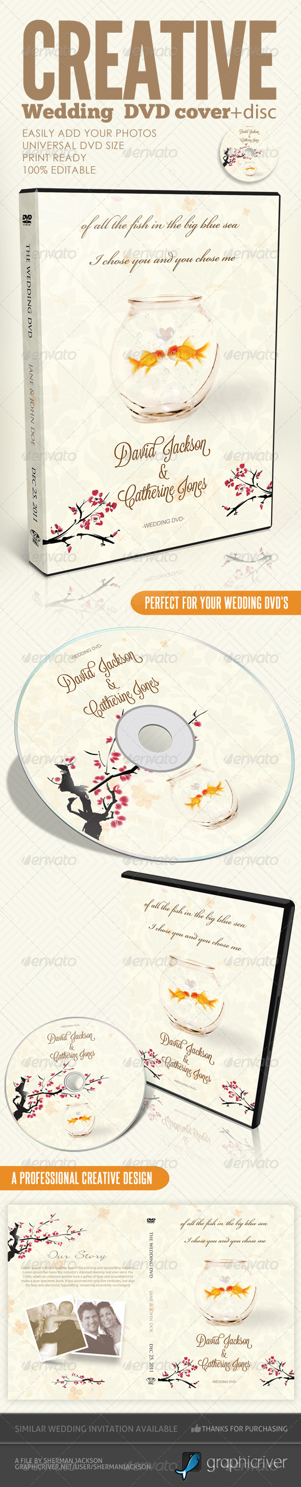 Creative Wedding DVD & Disc Label Artwork PSD - CD & DVD Artwork Print Templates