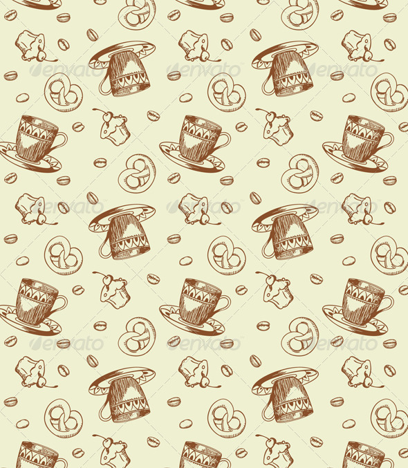 Seamless Pattern with Coffee - Patterns Decorative