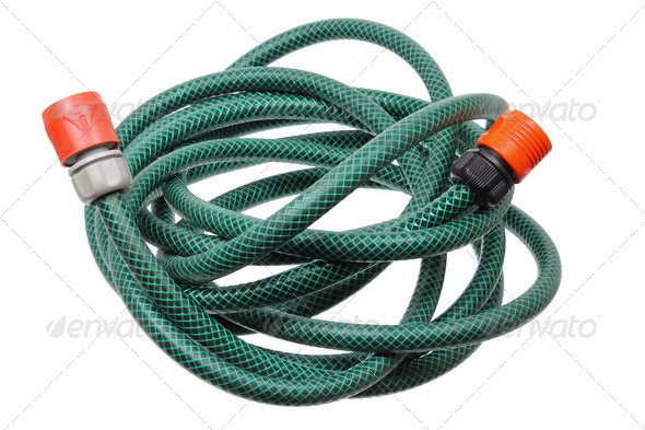Garden Hose on White Background - Stock Photo - Images