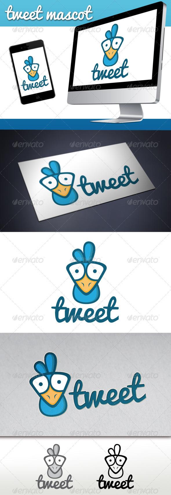 Tweet Bird Mascot Logo - Animals Logo Templates