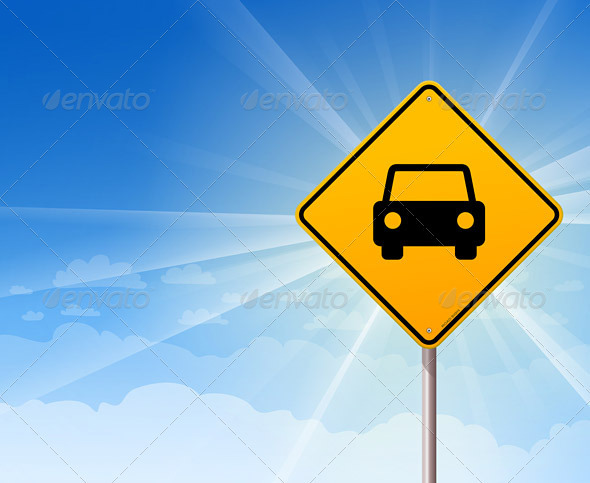 Car Roadsign on Blue Sky - Travel Conceptual