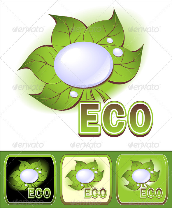 Set Ecologic icons with leaves and water droplets  - Nature Conceptual