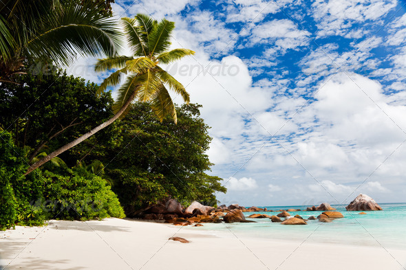 A gorgeous tropical beach, Seychelles - Stock Photo - Images