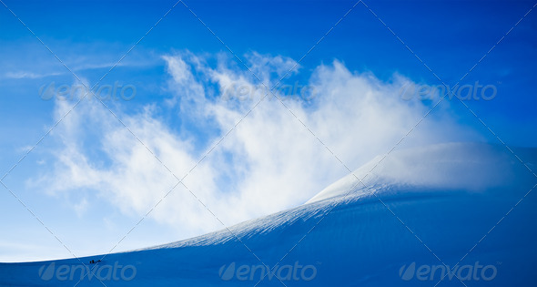 High mountain landscape: glaciers and clouds - Stock Photo - Images