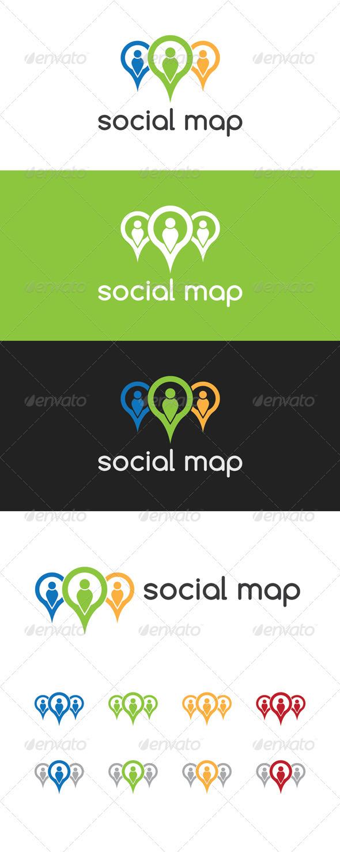 Social Map Logo - Symbols Logo Templates