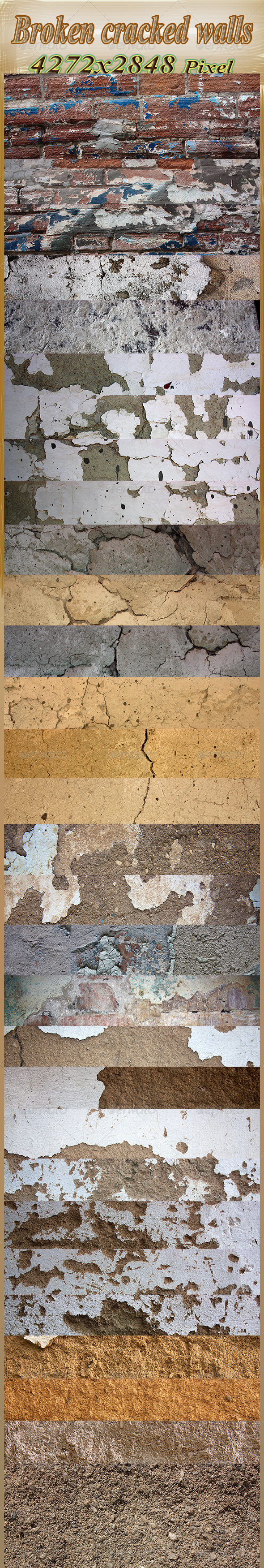 Broken Old Walls, Cracked and Broken - Fabric Textures
