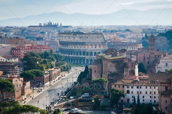 Via dei Fori Imperiali to Coliseum, Rome - Stock Photo - Images