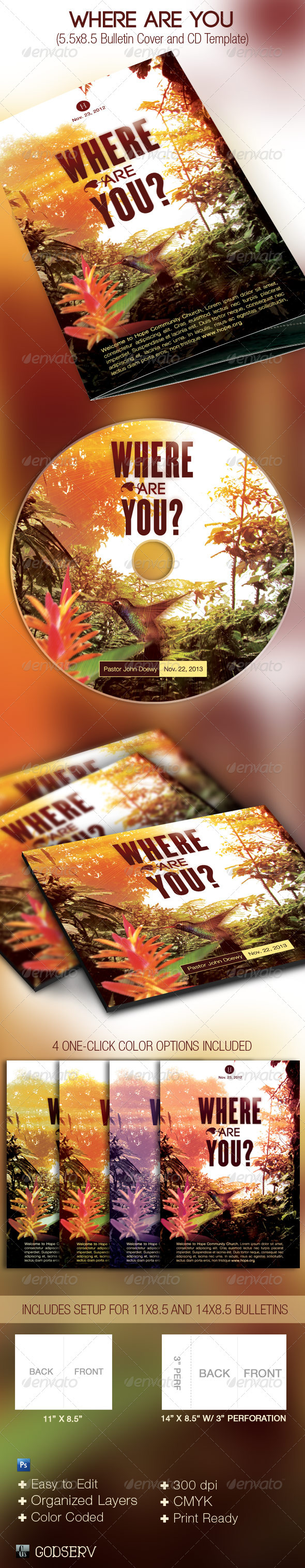 Where Are You Church Bulletin Cover CD Template - Miscellaneous Print Templates