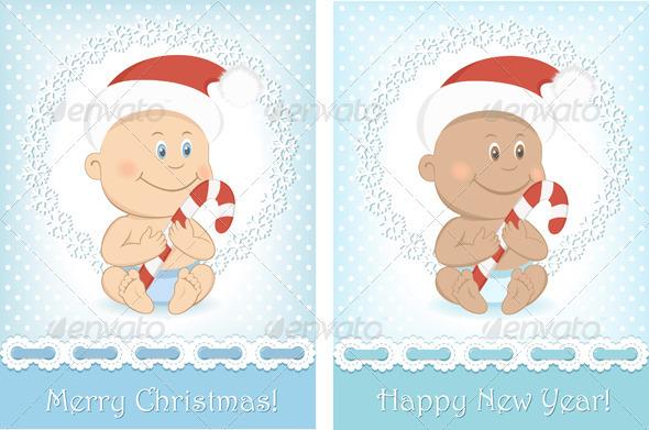 Funny Christmas Baby In Santa Claus Hat - Christmas Seasons/Holidays